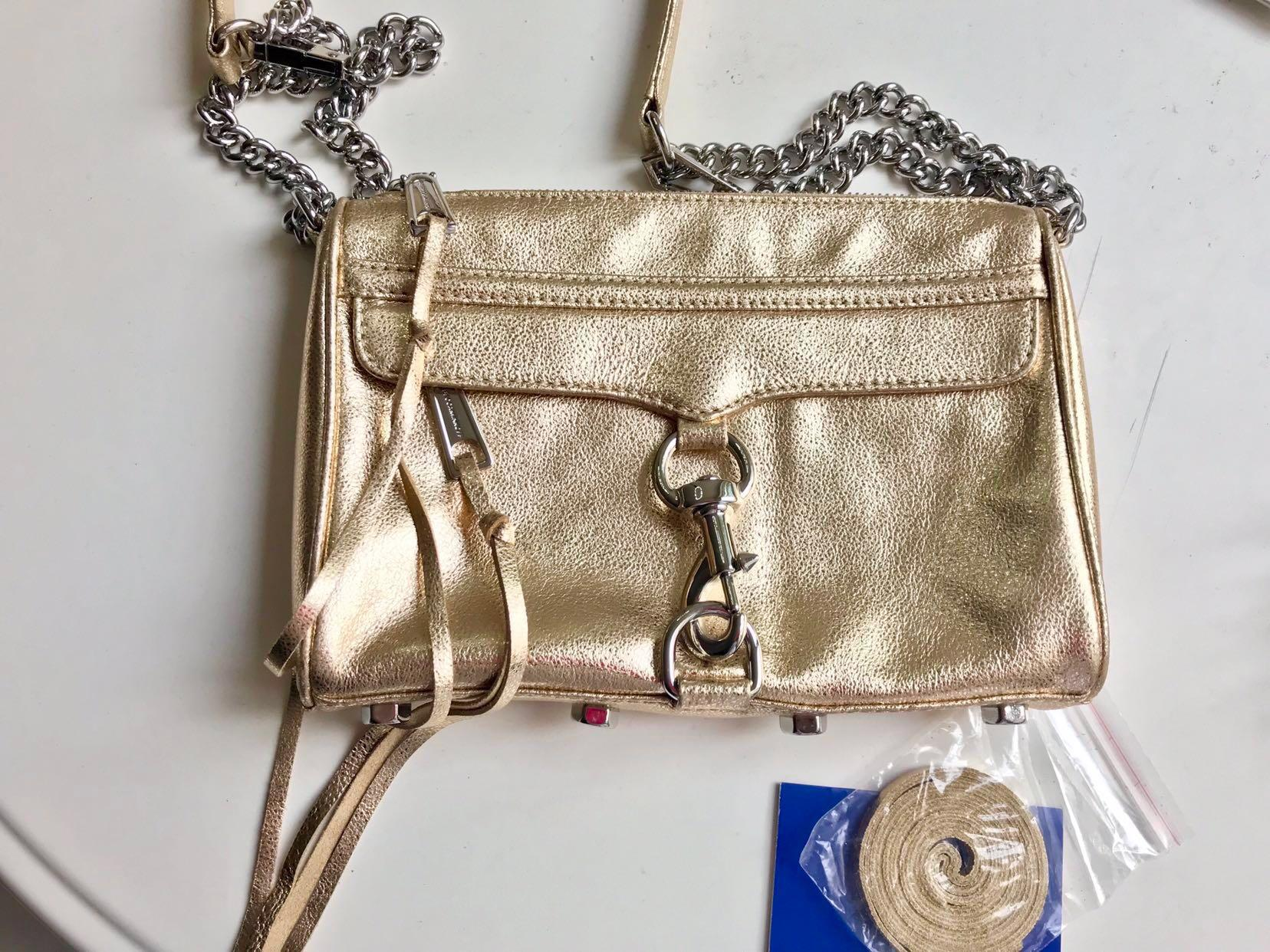 Rebecca Minkoff Mini MAC bag gold handbag with silver hardware