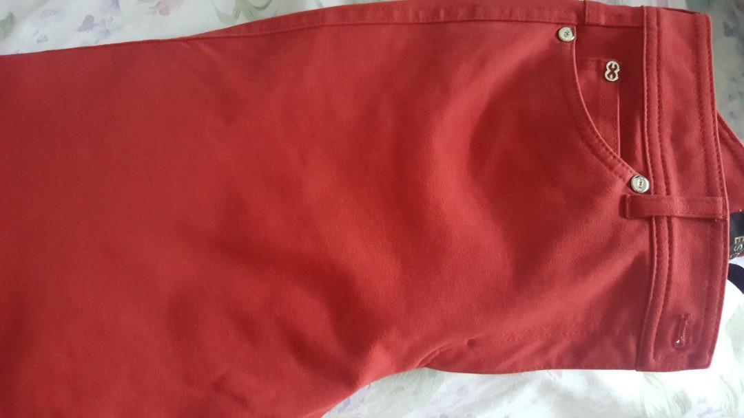 red pants escada brand