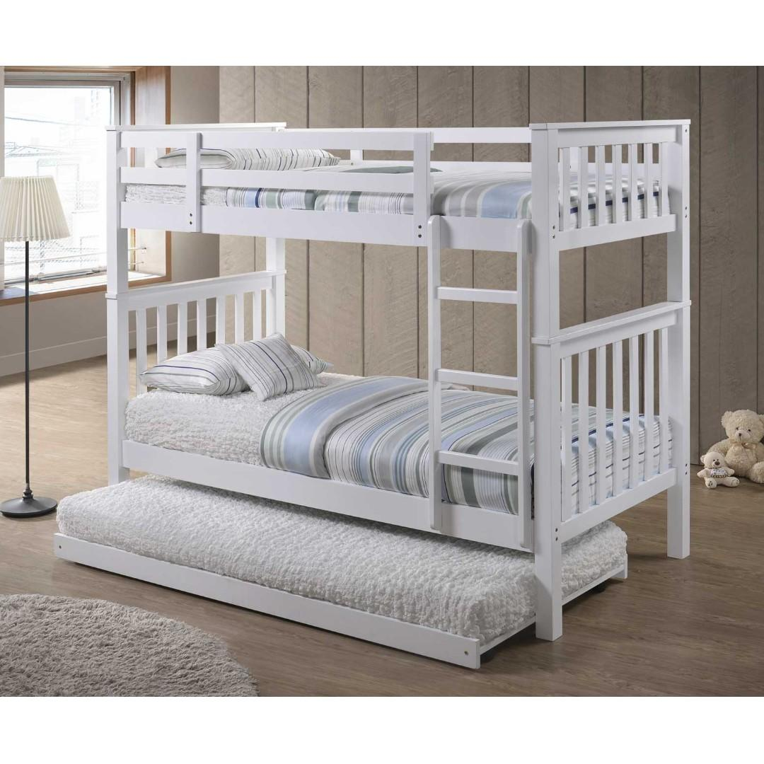 Picture of: Single Size Bunk Bed Double Deck Bed With Pull Out Bed Furniture Beds Mattresses On Carousell