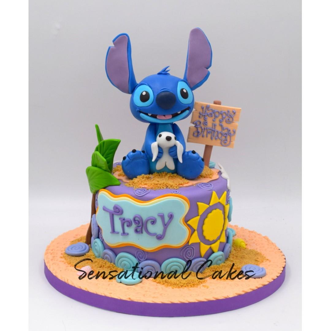 Stitch summer feel beach design 3d custom birthday cake ...