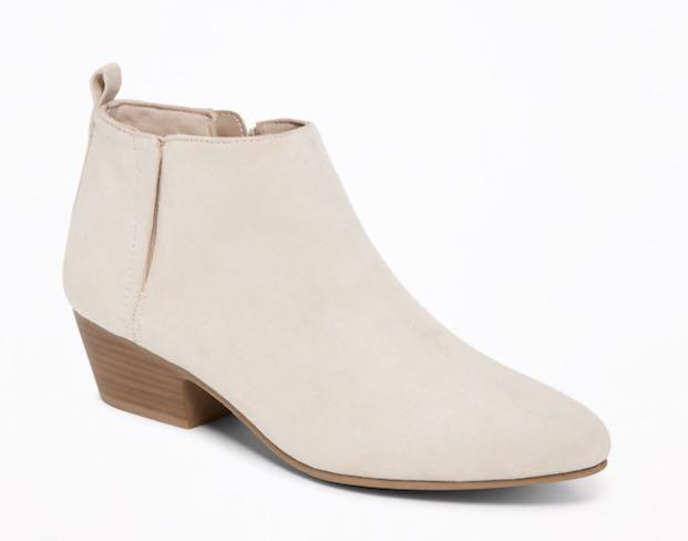 Sueded nude color ankle boots