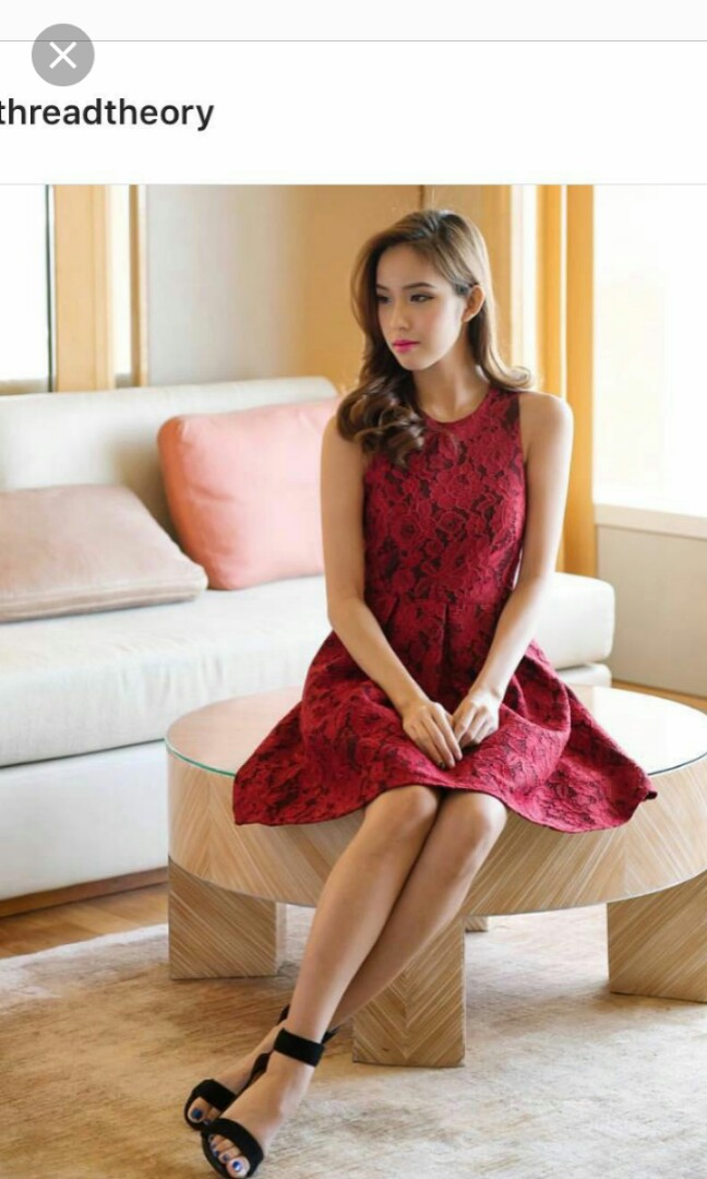 8e93bd4f725 Thread Theory Wine Red Lace Dress