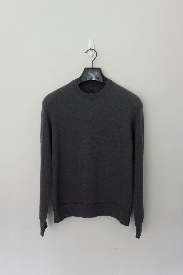 Uniqlo Mens Lightweight Basic Sweatshirt / Sweater DARK GREY