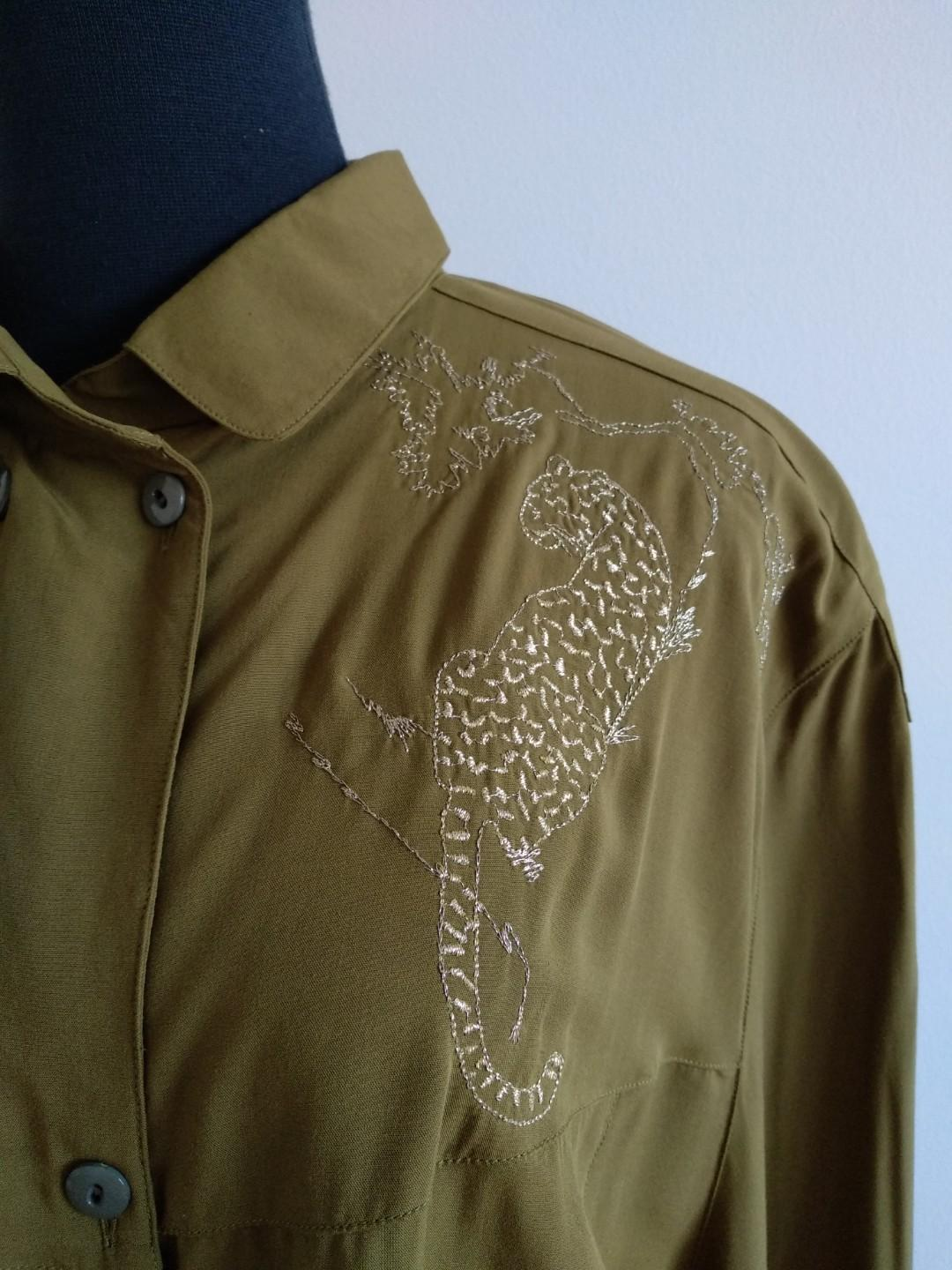 Vintage olive green leapord embroidery shirt AU 12 14