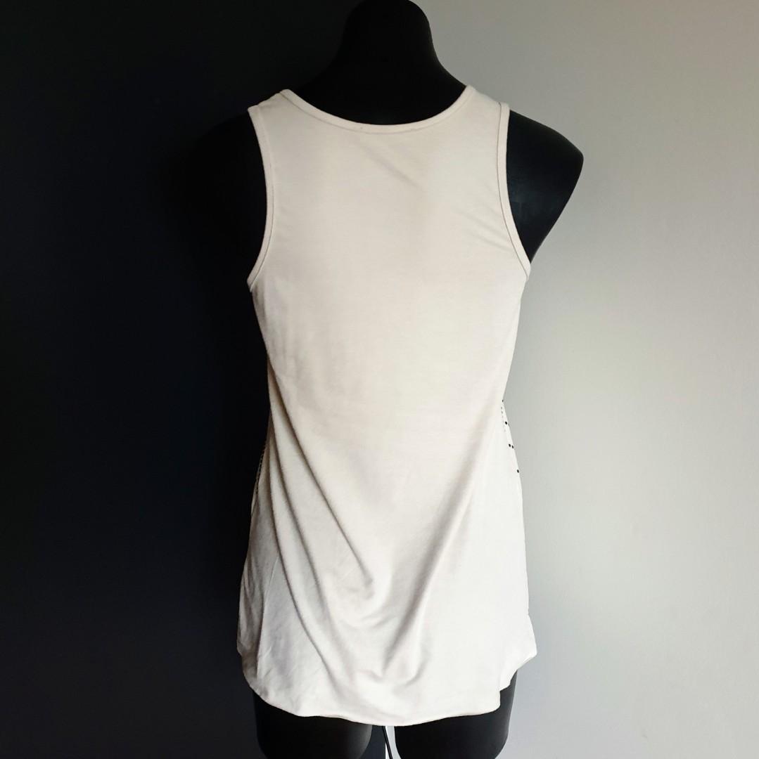 Women's size 8 8-10 'IMPRINT' Stunning beige suade feel top - AS NEW