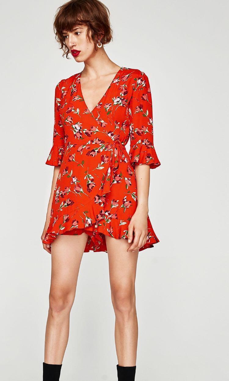 94bb1567bf30 Zara Red floral wrap mini dress romper (XS), Women's Fashion ...