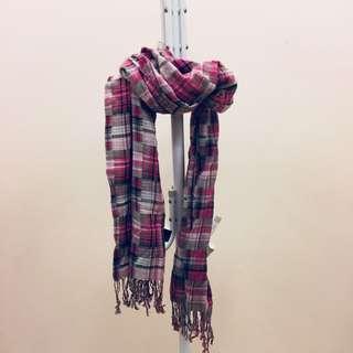 🚚 H&M粉色格紋長圍巾披肩