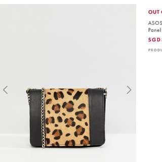 🚚 ASOS leather boxy leopard panel cross body bag