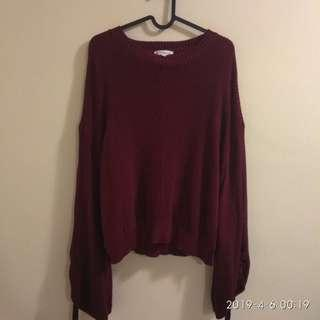 Padini Knitted Top Maroon Oversized