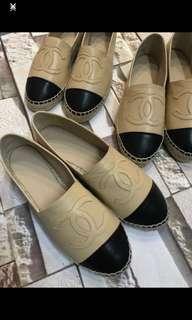 Chanel 漁夫鞋 beige color 杏 肉 赤 色 espadrilles 草鞋 flat plat 37