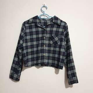 🚚 Dark Blue Checkered Crop Top