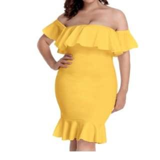CELLY Plus Size Ruffle Off-Shoulder Bodycon Party Yellow Mermaid Dress (CSOH R80474-4P)