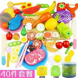 40pcs Wooden Magnetic Cutting Fruits Vegetables Meat Children Cooking Toy