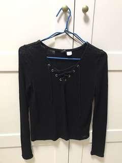 Tied black shirt H&M