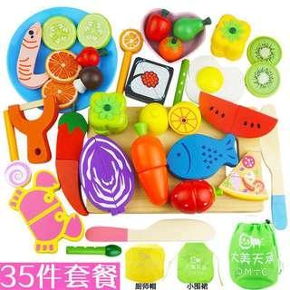 35pcs Wooden Magnetic Cutting Fruits Vegetables Meat Children Cooking Toy