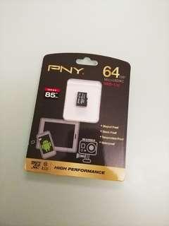 全新 PNY 64GB 高速 class 10 85mbps SDXC micro sd card