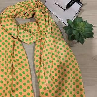 Yellow polka dot scarf