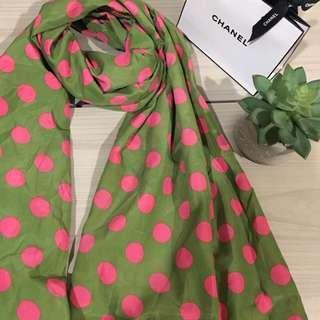 Green polka dot scarf