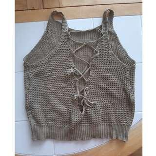 Knit lace up crop top size xs/small #SwapCA