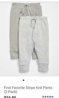 Baby Gap favourite stripe knit pants 2 pack. size 12-18mths. Pick up Gerrard and main both for $9 or Yorkville for $10. Or take each for $7. Retails for $24