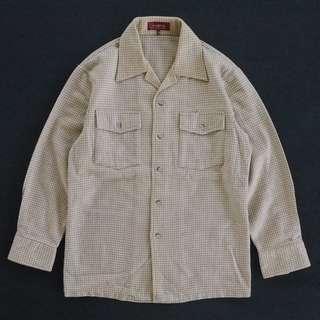 🚚 🌴90s日本製米黃色千鳥格紋羊毛開襟襯衫 男女皆可Vintage 古著老品