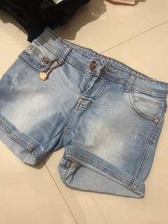 Hotpants biru celana pendek biru korea import murah