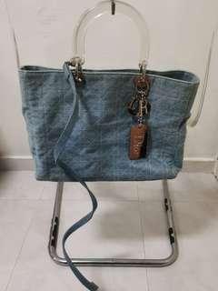 Authentic Dior Denim Tote Bag