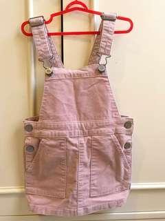 H&M corduroy dungaree pink jumpsuit playsuit