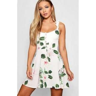 Floral Print Ruffle Strap Skater Dress (from boohoo.com) in white, size small/6