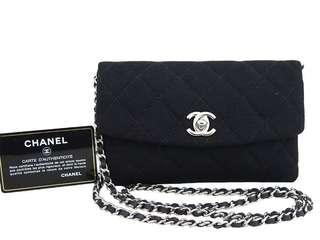 Chanel Black Quilted Jersey WOC