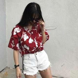 [NEW] RED OVERSIZED FLORAL BEACH VIBES TOP #MFEB20