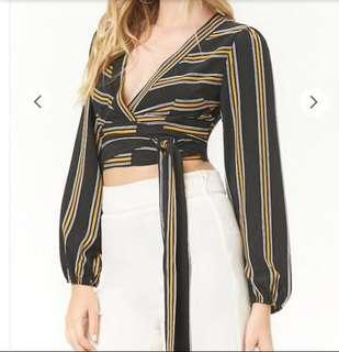 Forever 21 striped crop wrap top