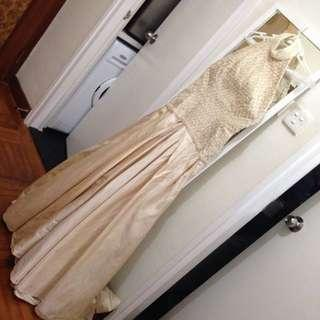 Pearl embellished Raw silk gown by Designer