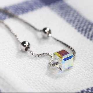 CZ Cubes Solid 925 Stamp Sterling Silver Bracelet (Brand new)