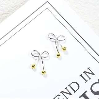 Sweet Hollow Bowknot Solid 925 Stamp Sterling Silver Stud Earrings (Brand New)