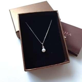 🚚 (代售)女isha jewelry閃耀珍珠純銀鍊