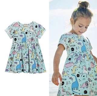 🚚 BN Baby Toddler Girl Dino Print Summer Dress 12m/24m/3T avail!