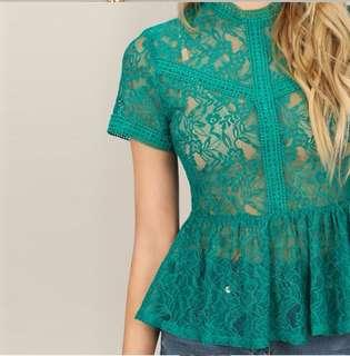 P2mart ✌🏼✔Pre order stock ✔Floral Lace Peplum Top