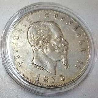 🚚 1873年義大利王國維托里奧·伊曼紐二世5里拉銀幣 AU 環狀淡金包漿 保真 附透明小圓盒