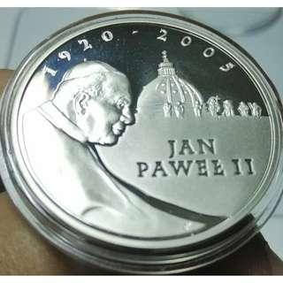 🚚 2005年波蘭 教宗若望保祿二世紀念鏡面精鑄銀幣 PF 925銀  保真 附透明小圓盒