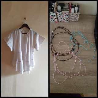 Indera Kusuma Batik White Blouse + Necklace Buy 1 Get 1 Free