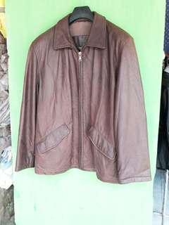 Jaket Coklat jaket kulit bison asli