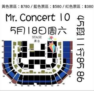 出售尾埸780票 Mr. 紅館演唱會
