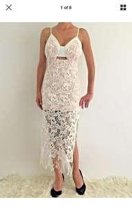 Women's Sleeveless White Crochet Eve Party Midi Dress