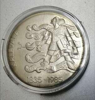 🚚 1985年 芬蘭 卡列瓦拉(Kalevala)150年紀念銀幣 BU 類馬賽克設計 少見 完整官方原套證 保真