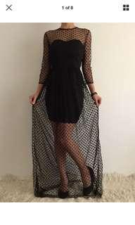 Women's maxi black mesh party dress