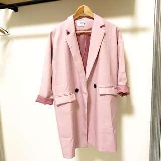 正韓 韓貨 韓製 西裝外套 粉色 粉嫩 粉 櫻花粉 外套 大衣 雪紡 挺版 雪紡外套 馬卡龍 馬卡龍色系 長版外套 長版西裝外套