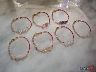 水晶紅繩手鏈*粉晶手繩 bracelet