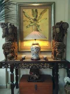 A pair of Chinese antique woodcarvings 牛腿