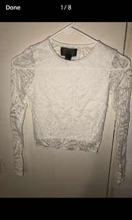 H&M lace cropped top size xs